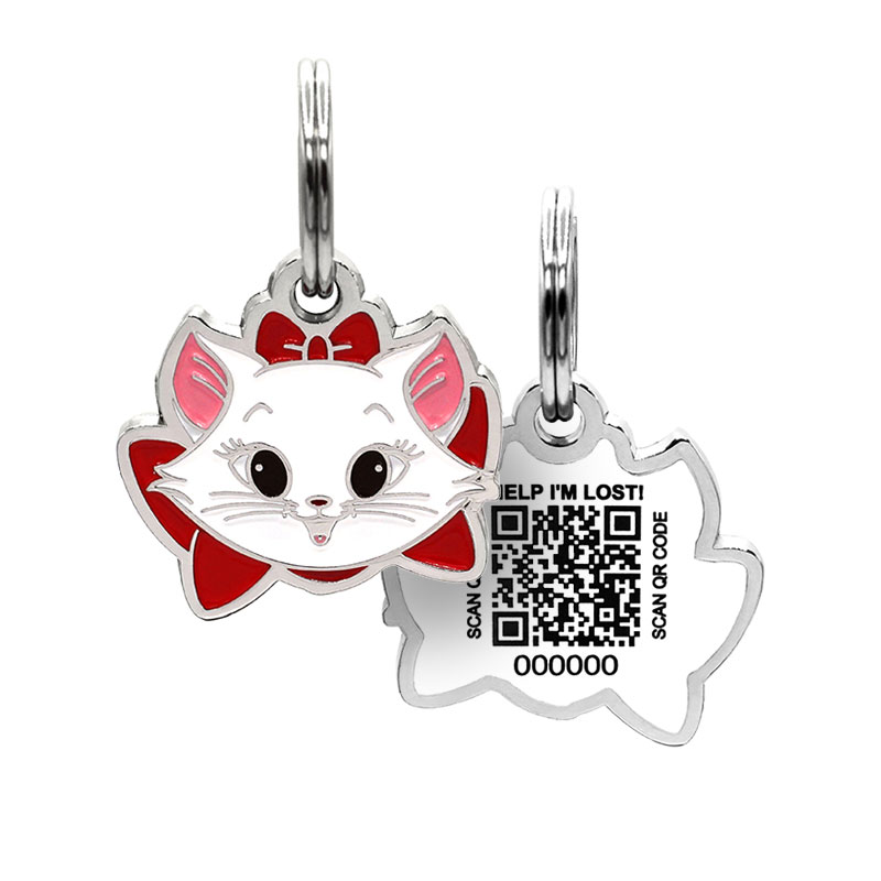 Cat ID tag with kitten face wearing red bow paired with QR code ID tag