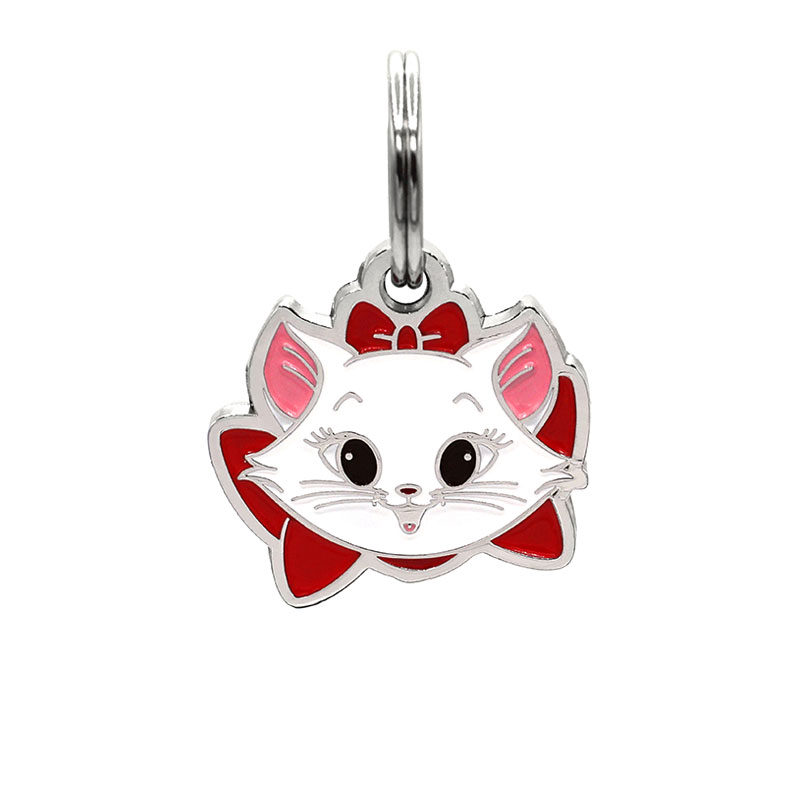 Cat ID tag with kitten face wearing read bow