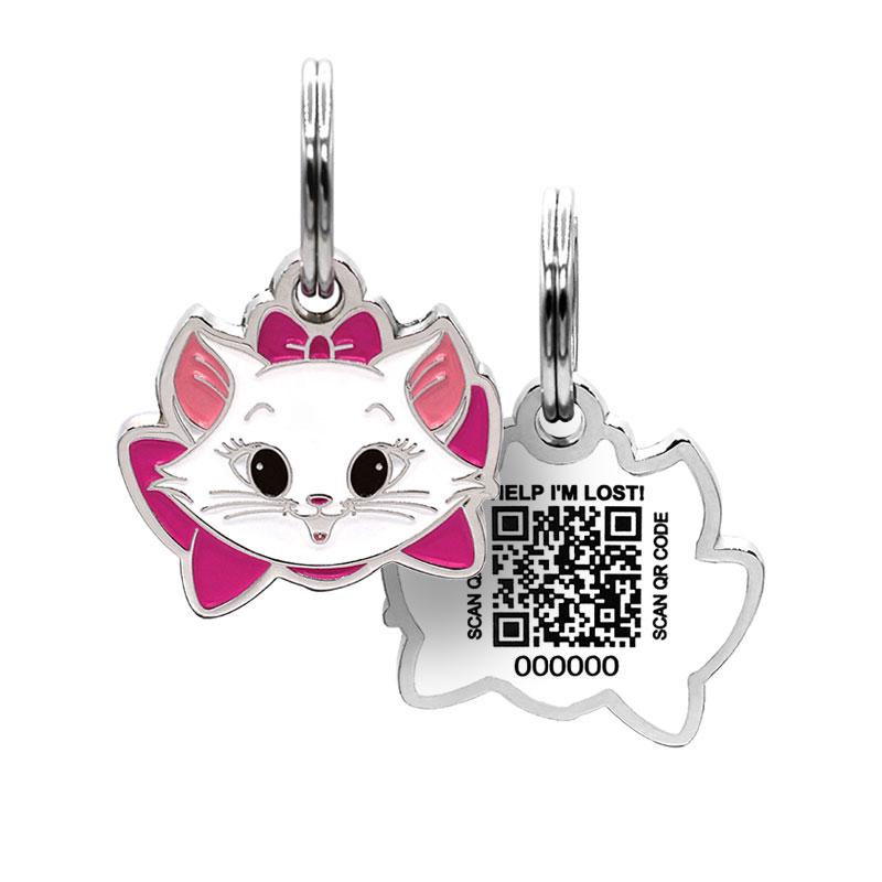 Cat ID tag with kitten face wearing pink bow paired with QR code ID tag
