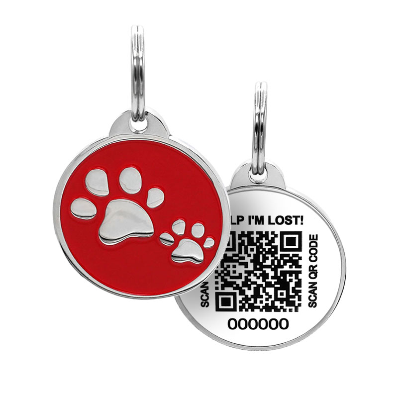 Pet tag with pet paws on red paired with QR code ID tag