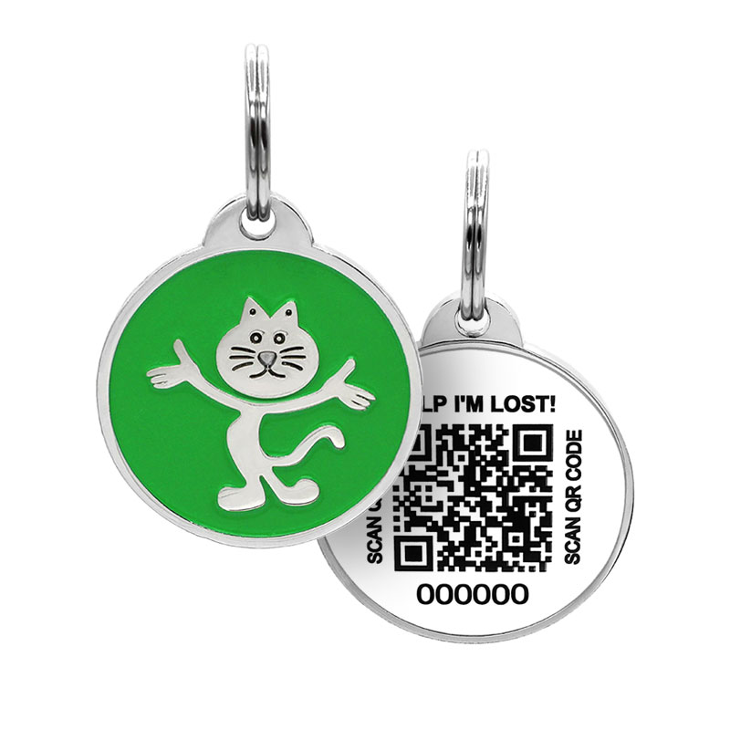 Cat ID with cute cat on green tag paired with QR code tag