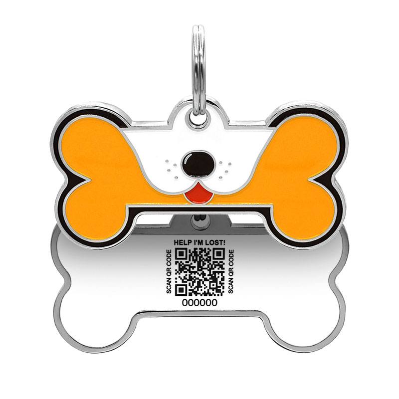 Dog ID tag with puppy face on orange big dog bone paired with QR tag