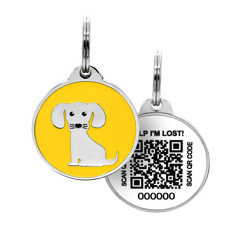 Puppy ID tag with dog on yellow background