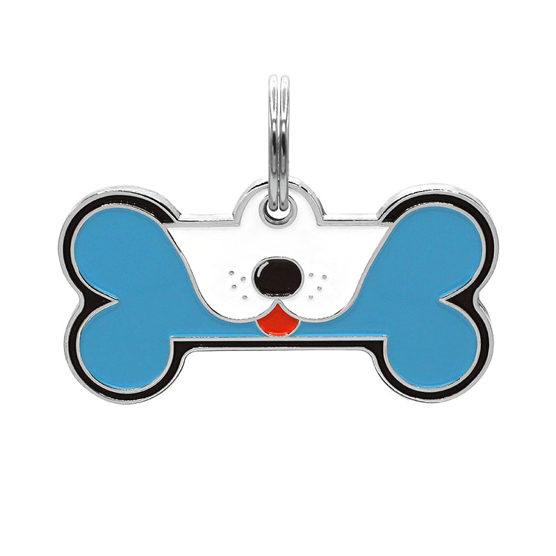 Dog ID tag with tongue out on blue yellow dog bone