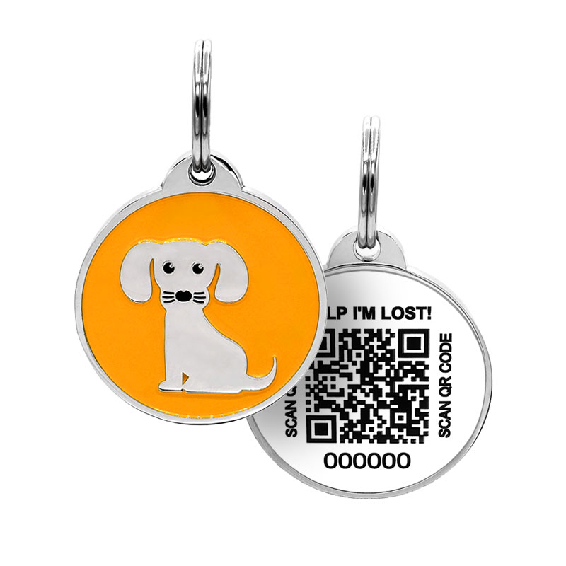 Puppy ID tag with cute dog on orange paired with QR tag