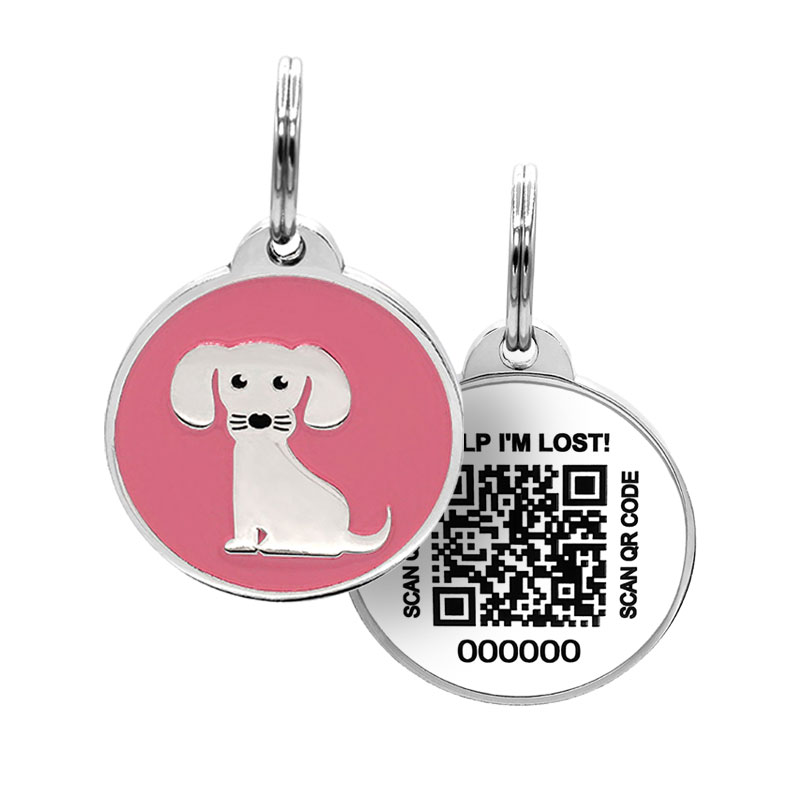 Puppy ID tag with cute dog on pink paired with QR tag