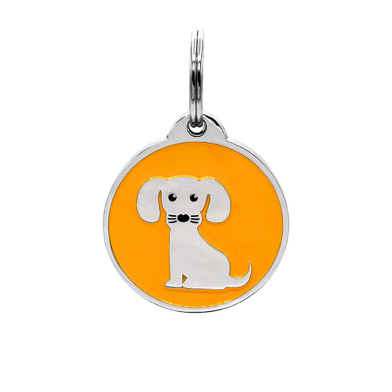 Puppy ID tag for girl dog with orange background