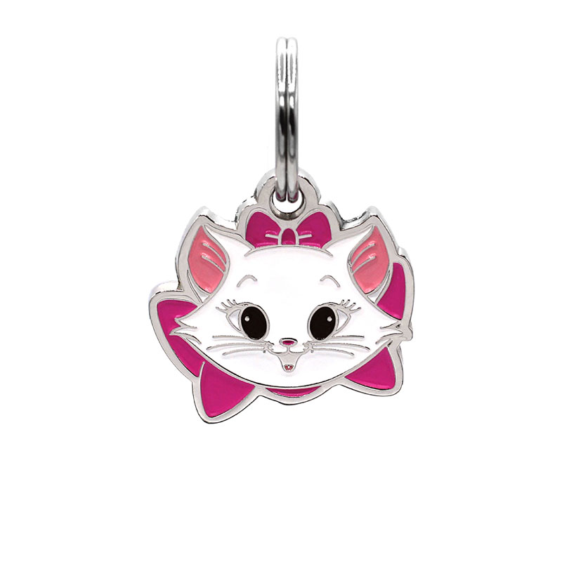 Cat ID tag with kitten face wearing pink bow