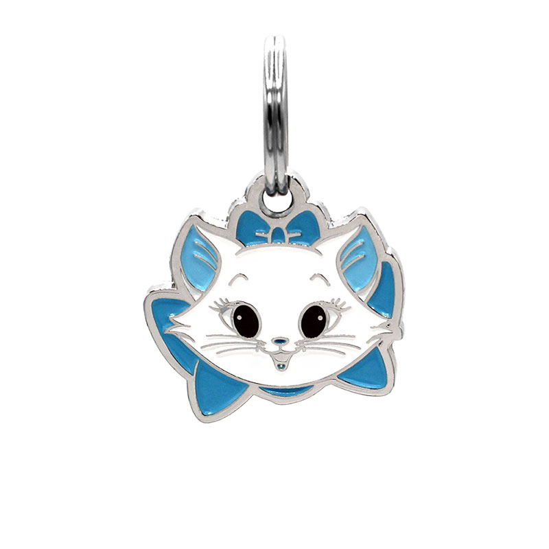 Cat ID tag with kitten face wearing blue bow