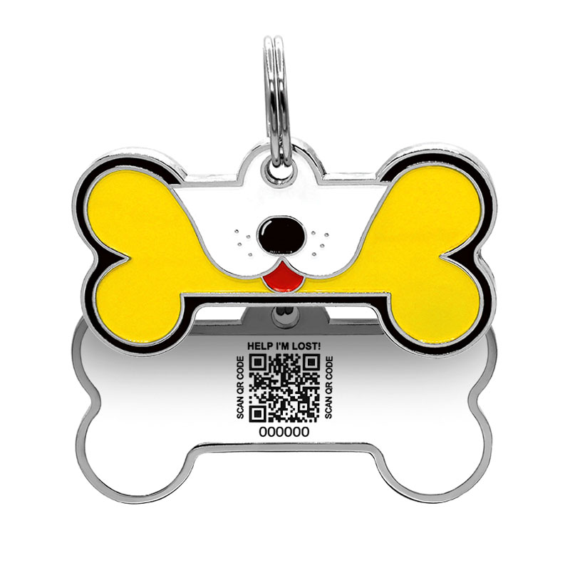 Dog ID tag with puppy face on yellow big dog bone paired with QR tag