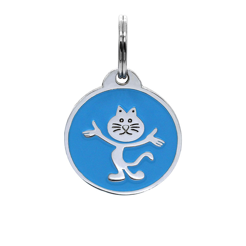 Cat ID tag with cat on blue background