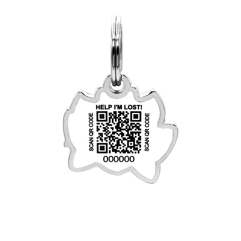 Pet ID tag with scannable QR code for pet safety