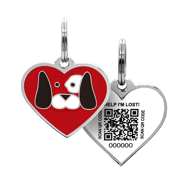 Dog tag with dog face on red heart paired with QR code ID tag