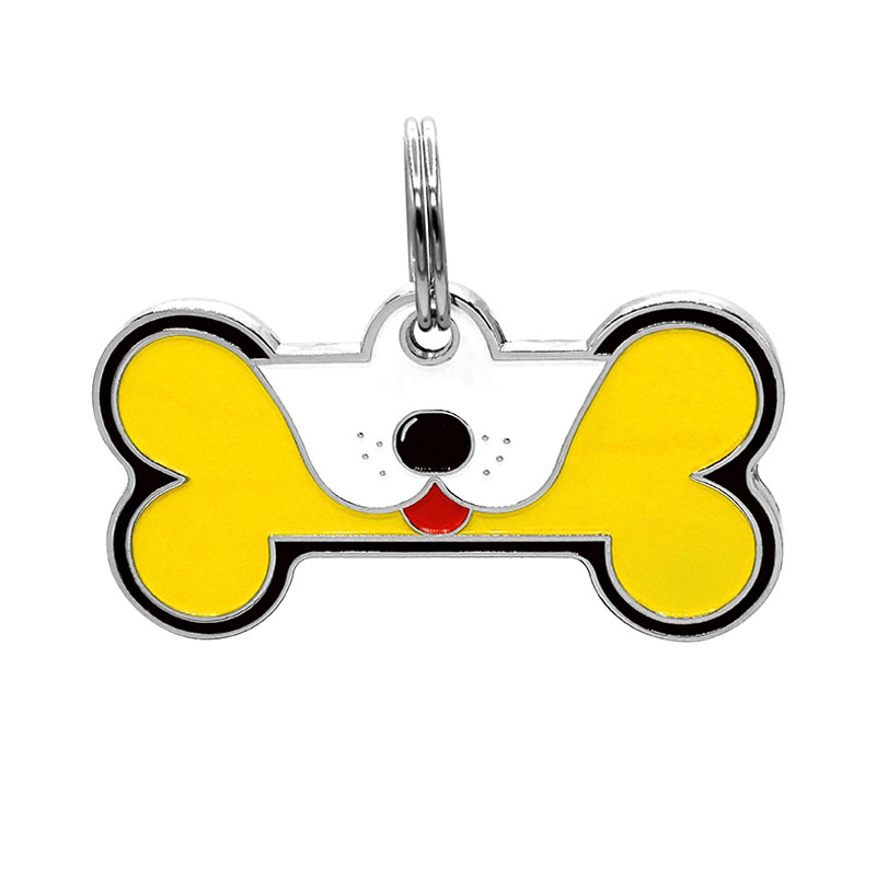 Dog ID tag with tounge out on large yellow dog bone