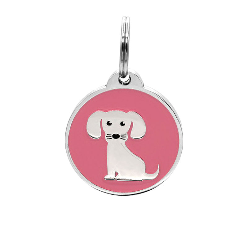 Puppy ID tag for girl dog with pink background