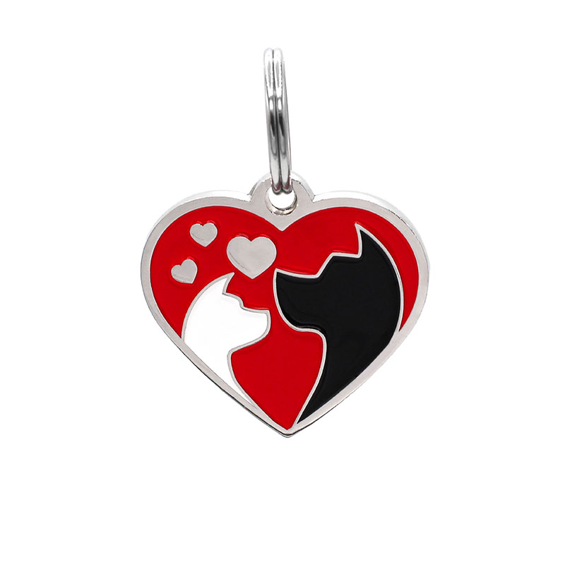 Pet ID tag heart shaped with cat and dog pet love