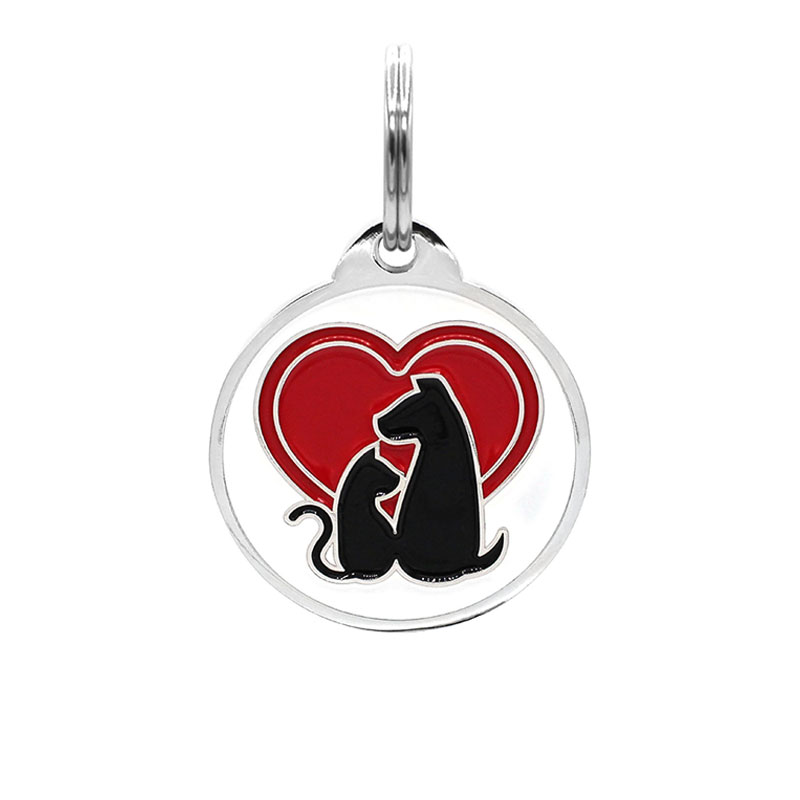 Pet ID tag with cat and dog silhouettes and red heart paird with QR code tag