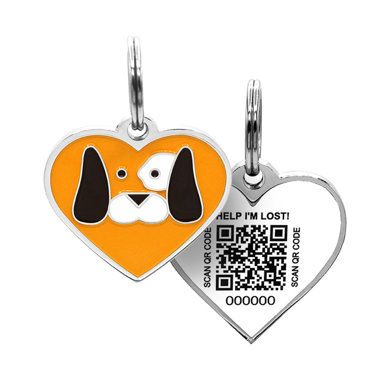 Dog tag with dog face on orange heart paired with QR code ID tag