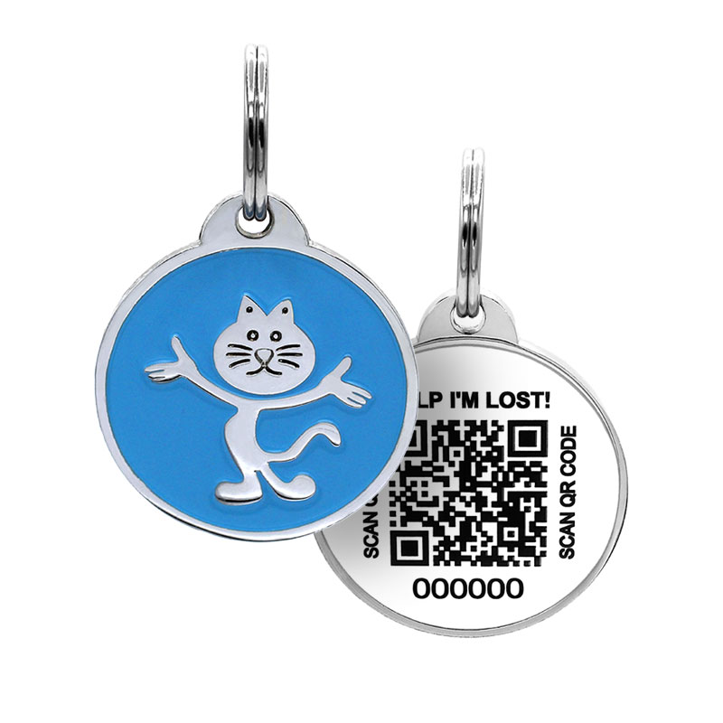 Cat ID with cute cat on blue tag paired with QR code tag