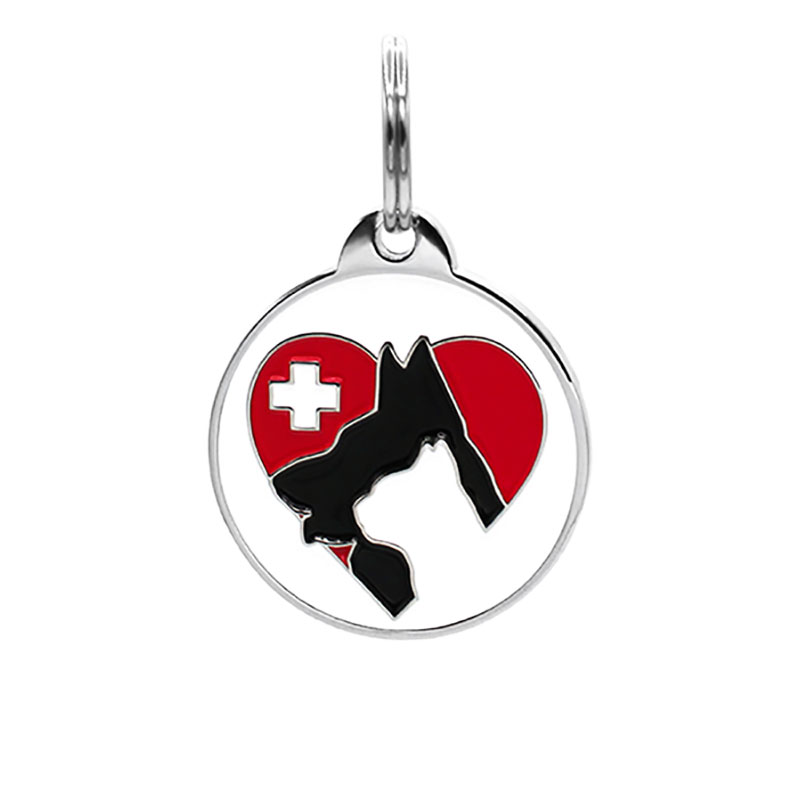 Pet ID tag with dog and cat in red emergency heart
