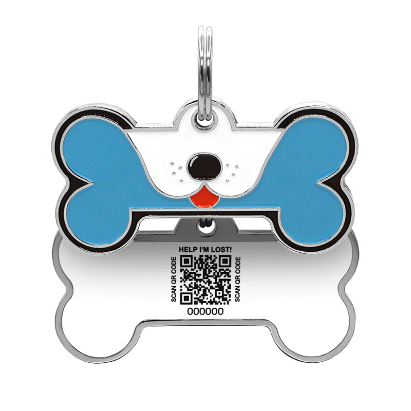 Dog ID tag with puppy face on blue big dog bone paired with QR tag